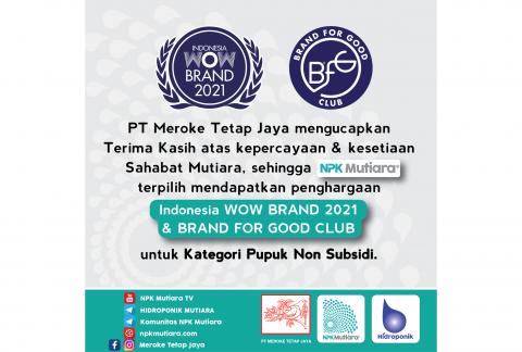 NPK Mutiara Raih Penghargaan Indonesia WOW Brand 2021